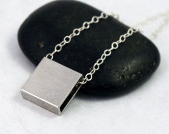 Minimalist Jewelry - Silver Square Charm Necklace