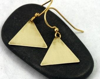 Triangle Earrings - Gold (brass) Geometric Jewelry, minimalist triangles