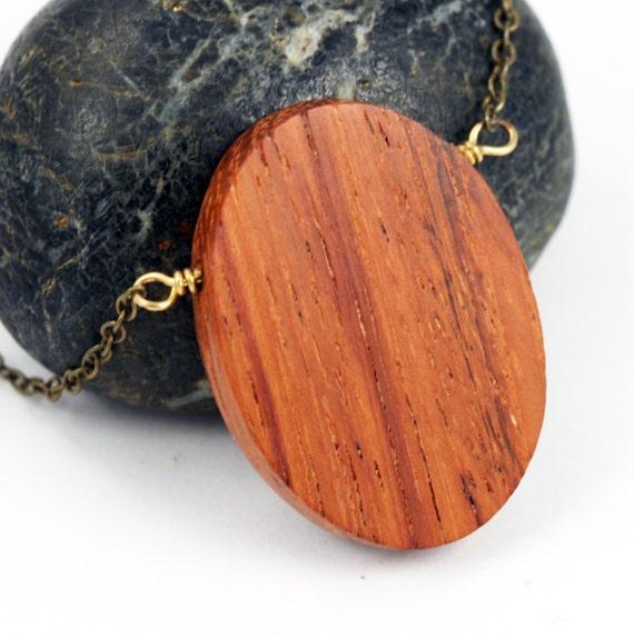 Geometric Jewelry : Minimalist Wood Oval Pendant Necklace on Brass