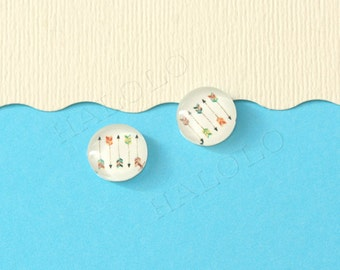 10pcs handmade five arrows round glass dome cabochons 12mm (12-0304)