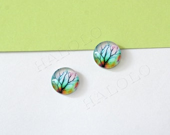 Sale - 10pcs handmade tree round clear glass dome cabochons 12mm (12-0139)