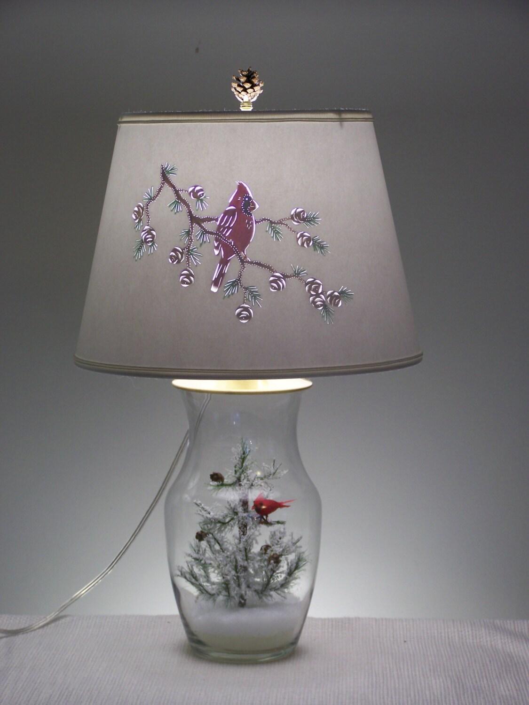 Winter Cardinal Lamp