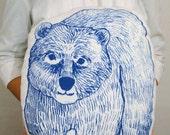 Handmade Bear Pillow, Bear Toy, Stuffed Animal screenprinted original art