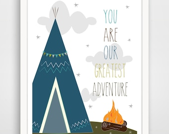 You Are Our Greatest Adventure TeePee Print - Blue