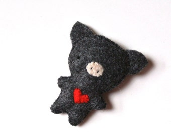 Pig Felt Brooch Black Pig Felt Pin Handmade Gift for Her Pig Stuffed Animal Cute Pig Gift Unique Fashion Accessory Plush Pig Kids Accessory