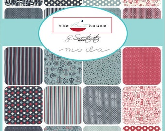 The BOAT HOUSE - Moda Fabric Charm Pack - Five Inch Quilt Squares Quilting Material Blocks