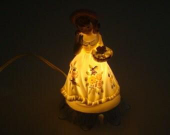 Vintage Lamp Figural  Lamp Nightlight Girl Lamp Small Lamp Girl Lamp with Flowers Figural Light Vintage Lighting