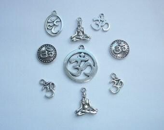 9 Assorted Ohm/Om Yoga Meditation Charms
