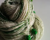 Halloween Art Yarn - FRANKENSTEIN'S LAB - Handspun. White, Green. Handmade Zombie Heads. Glow in the Dark. Knitting. 129 yds, 3.4 oz