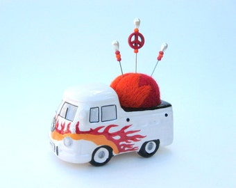SHOP CLOSING SALE - vw Kombi Bus Love And Peace Pin Cushion - Needle Felted - Red And Orange With Flames