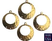 1 Loop w/ 3 Hole Raw Brass Hammered Hoop Pendant (4) mtl100U
