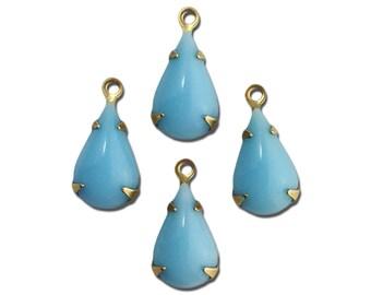 Vintage Opaque Light Blue Glass Teardrop Stone in 1 Loop Brass Setting par003BB