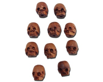 Hand Carved Wooden Skull Beads 13x12mm (10) gyb001A