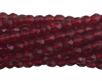 Transparent Faceted Siam Ruby Glass Beads 4mm (50) bds1499B