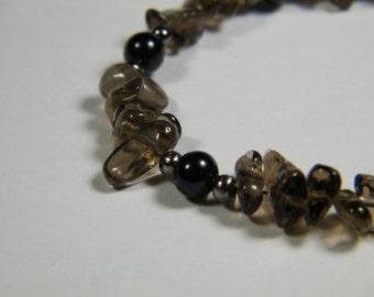 Smoky Quartz with black cultured freshwater Pearls, beaded bracelet