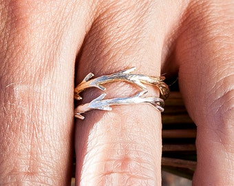 Silver Twig & Gold Twig Ring Set | Stacking Rings | Nature Inspired Rings