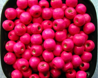 10mm Magenta Wooden Beads - Over 100 - 10mm Glossy Bright Pink Wood Beads, Lead Free (WBD0036)