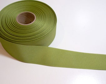 Green Ribbon, Light Olive Green Grosgrain Ribbon 1 1/2 inches wide x 50 yards, Offray Jungle Green Ribbon