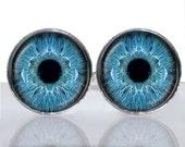 Round Glass Tile Cuff Links - Blue Eyes CIR104