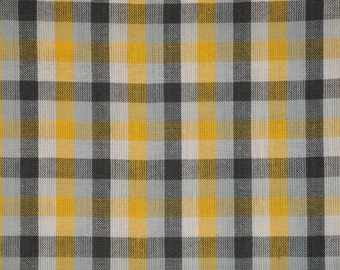 FLAWED Homespun Fabric | Sewing Fabric | Cotton Fabric | Quilt Fabric | Check Fabric | Yellow White Grey And Charcoal | 40 x 44