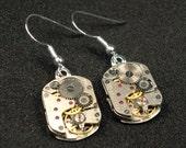 Watch movement steampunk silver fish hook earrings metal gears item RUS2