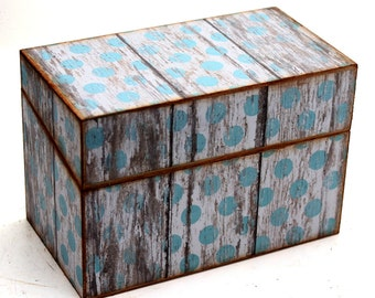 Wood Recipe Box Blue and White Polka Dot Barn Wood Fits 4x6 Cards