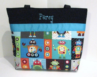 Robot Diaper Bag Tote . Regular size . Silly Robots and Turquoise . monogrammed FREE . great boy diaper bag . personalized diaper bag