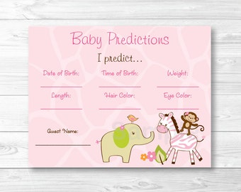 Cute Pink Safari Animal Baby Predictions Game / Safari Baby Shower / Jungle Animal Baby Shower / Predictions For Baby Game INSTANT DOWNLOAD
