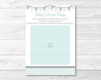 Cute Chevron Baby Shower Bingo / Chevron Pattern / Green & Grey / Gender Neutral / Baby Shower Bingo / Printable INSTANT DOWNLOAD