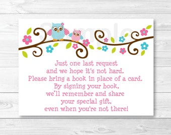 Pink Owl Baby Shower Book Request Cards INSTANT DOWNLOAD