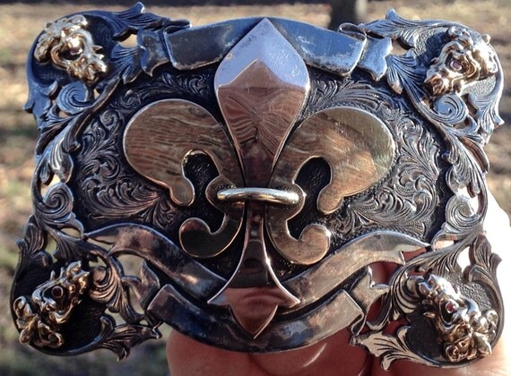 Sterling Silver and 14K Gold Buckle with Rubies Fleur de Lis by J W Cooper