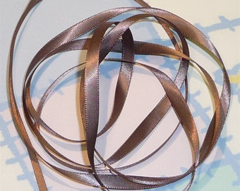 CHOCOLATE CHIP DouBLe FaCeD SaTiN RiBBoN, Polyester 1/4 inch wide, 5 Yards