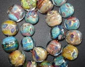RESERVED for SARAH....SuuzDesign handmade lampwork bead set - s i l v e r g l a s s - sra