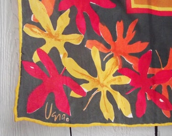 Vintage Vera Scarf c. 1969 - Square Silk Red Leaves