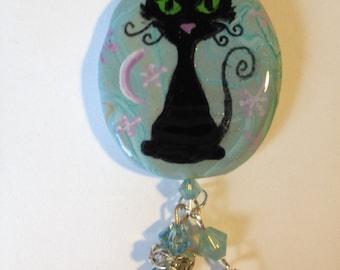 Witchy Black Cat Kitty Swarovski Crystal Aqua Koi Charm Necklace Pendant Halloween