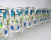 Libbey Nordic Blue Lime Green Turquoise Tumblers Set of Six - Retro Vintage