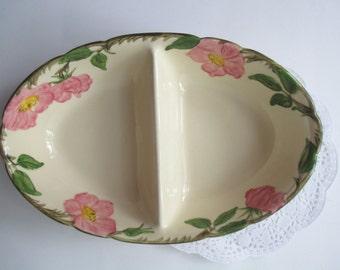 Vintage Franciscan Desert Rose Pink Green Divided Serving Bowl
