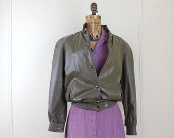 1980s leather jacket - taupe, gray brown, B Altman + Co, metallic bronze lining - vintage size 6, small