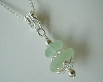 Beach Glass Necklace Stacked Seaglass Necklace - Sea Glass Jewelry