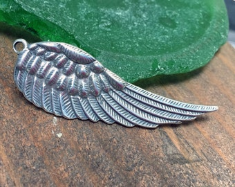 Large Sterling Silver Wing Angel Pendant Charm
