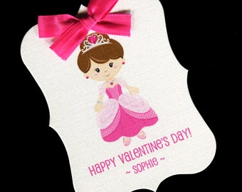 20 Valentine Tags - Personalized Tags - Valentines Day - Favor Tags - Cookie Tags - Bag Tags - Valentine Candy Tags - Princess Dark Hair