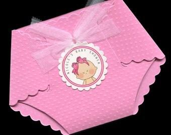 Baby Shower Invitations - Baby Girl Baby Shower Invitations - Baby Girl Shower Invitations - Diaper Invitations - Pink - Baby Girl