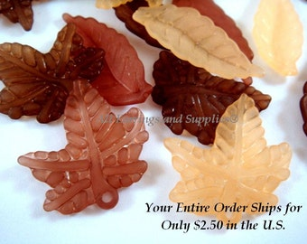 24 Acrylic Leaves Orange Brown Autumn Leaf Drops Assorted Sizes and Shapes - 24 pc - A1045-ASOBR24