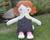 SALE Lil Sister Sprinkles Cinnamon Hair Handmade Rag Doll (white flowers on black print)