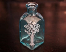 Tree of Life, Engraved Glass, Small Square Blue Bottle, Vase, Hand Etched, Home Decor Jar by Hendywood