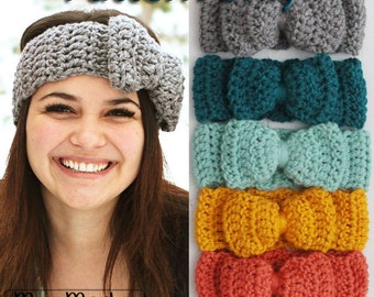 PATTERN ONLY for Crochet Bow Headband Perfect for Winter or to keep warm Easy quick project