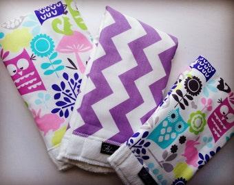 Lavender Chevron + Hoot Owl Baby Burp Cloth Set (3)