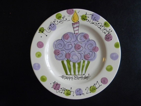 Personalized Birthday Plate - Hand Painted Birthday Plate -  Purple and Green Colorful Cupcake