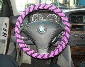 Purple and Black Chevron Steering Wheel Cover