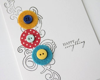Happy Everything Felt and Buttons Card